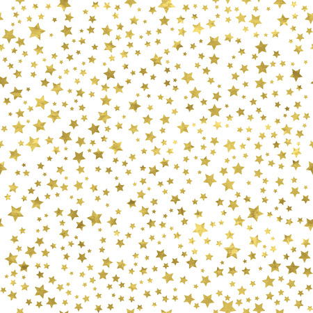 Illustration pour Abstract  white  modern seamless pattern with gold stars.   Vector illustration.Shiny background. Texture of gold foil. - image libre de droit