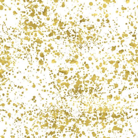 Ilustración de White and gold freehand  pattern. Abstract spray background. Vector illustration.Shiny backdrop. Texture of gold foil. - Imagen libre de derechos