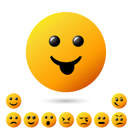 Set of smiley icons, creative cartoon style with different emotions.