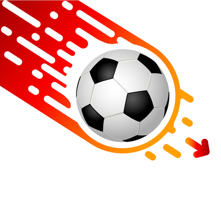 Soccer ball isolated on white background rapidly flies down.  Template design with blank space for text for a banner or cover.