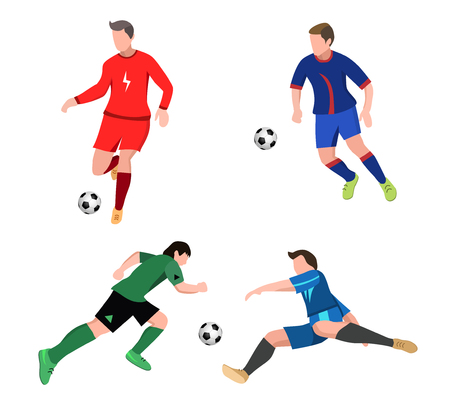 Set of soccer Players in top form with the ball. Football players isolated on white background.