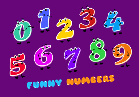 Set of funny cartoon numbers Characters. kids figures one, two, three, four, five, six, seven, eight, nine zero Vector illustration on dark background