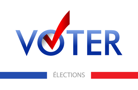 Illustration pour Voting banner vector design. The word vote is written in French. layout Elections icons. check marks. Vote, poll sign. - image libre de droit