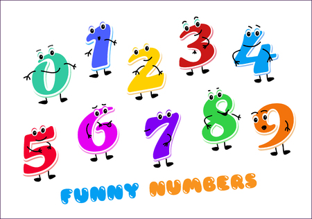 Set of funny cartoon numbers Characters. kids figures one, two, three, four, five, six, seven, eight, nine zero Vector illustration isolated on white background