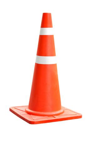 Foto de Orange plastic cone with reflective stripes isolated on white background - Imagen libre de derechos