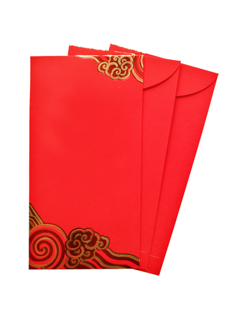 Photo pour Envelope Red gift bag for the money in the Chinese New Year isolated on white background. - image libre de droit