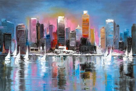 Photo pour A sunday leisure time in a coastal city, original oil painting on canvas - image libre de droit
