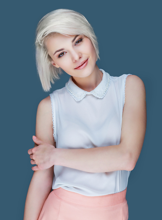 Photo for beautiful blond smiling woman, isolated - Royalty Free Image