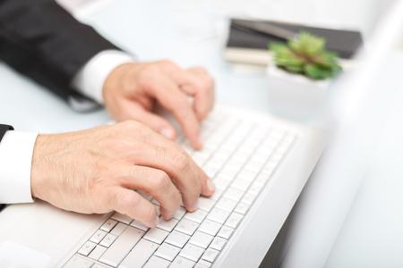 Foto für Male hands using modern computer typing on keyboard business concept - Lizenzfreies Bild