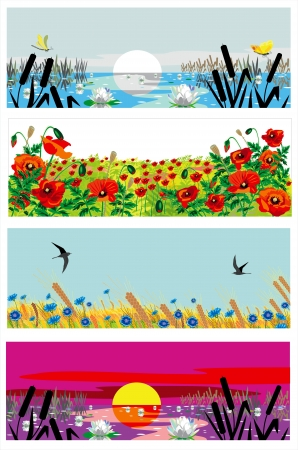 Illustration pour beutiful summer banners - image libre de droit