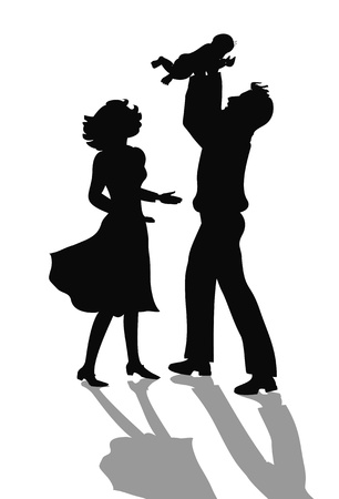 Illustration for happy family silhouette - Royalty Free Image