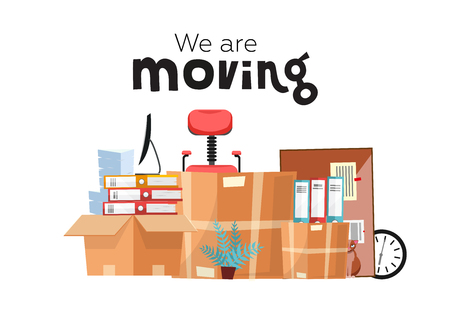 Illustration pour Moving to new office with boxes. Office accessories in cardboard box isolated on white background - monitor, folders, stack of papers, plant, office chair, clock, board stationery. Flat cartoon vector - image libre de droit