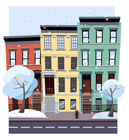 Illustration pour Nonlinear colorful houses look out of picture. Flat cartoon style vector winter city street. Tree houses flying snowflakes. Street cityscape. Day city landscape with snow-covered trees in foreground - image libre de droit