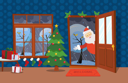 Illustration pour Flat wind illustration cartoon style. Open door and window overlooking the snow-covered trees. Christmas tree, tables with gifts in boxes and Christmas stockings inside. Santa Claus looks in doorway - image libre de droit
