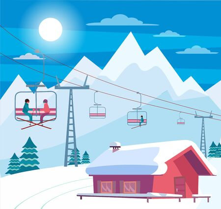 Illustration pour Winter snowy landscape with ski resort, lift, cable car, red house with snow-covered roof, Alps, fir trees, nature and winter mountains landscape. Sunny weather. Flat cartoon style vector illustration - image libre de droit