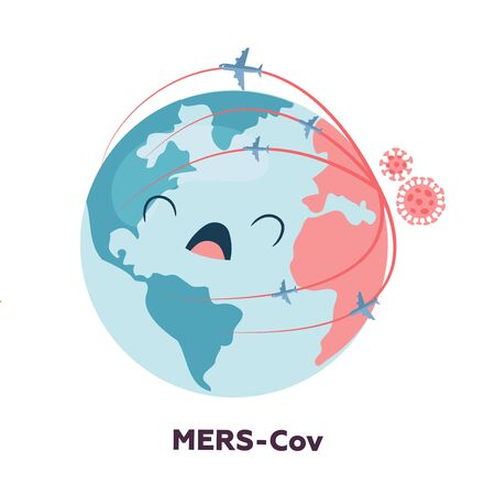 Illustration pour Planet earth character is upset and screaming because of the spread of coronavirus. Floating influenza virus cells. 2019-nCoV. - image libre de droit
