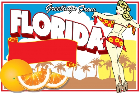 Illustration pour Florida Postcard - image libre de droit