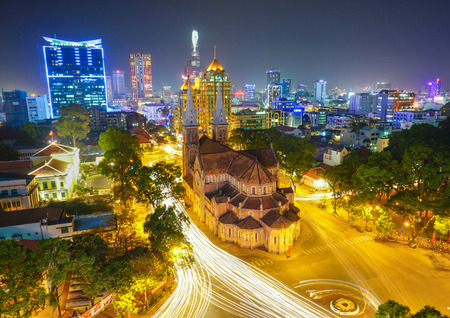 Photo for Notre Dame cathedral in Ho Chi Minh City, Vietnam night view - Royalty Free Image