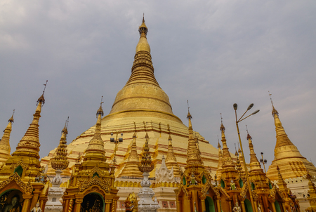 Photo for Golden stupas of Shwedagon Pagoda in Yangon, Myanmar. Shwedagon is known as the most sacred pagoda in Myanmar. - Royalty Free Image