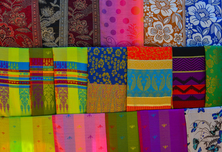 Photo for Colorful textile for sale at street market in Mandalay, Myanmar. - Royalty Free Image