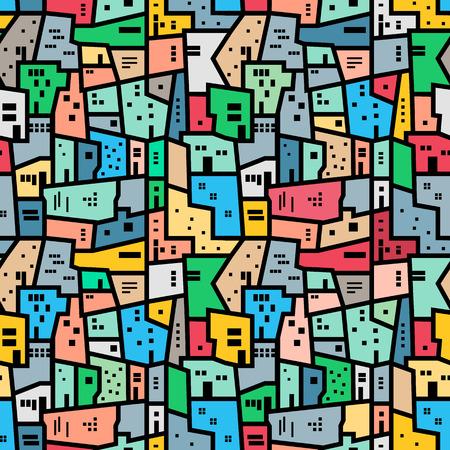 Illustration pour Brazilian favela. Landscape with city blocks. Bright colored seamless pattern. Vector background. - image libre de droit