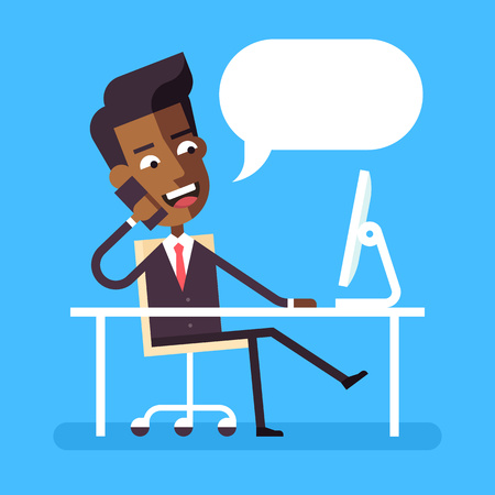 Illustrazione per Handsome african american manager in formal suit sitting legs crossed at the desk with a computer and talking on cell phone. Cartoon character - cute businessman. Stock flat vector illustration. - Immagini Royalty Free