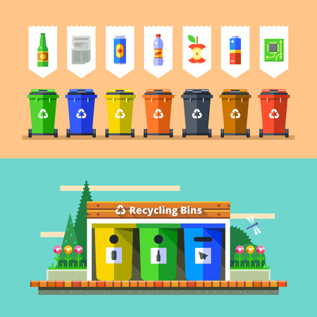 Ilustración de Waste management and recycle concept. Separation of waste on garbage bins. Sorting waste for recycling. Colored garbage cans with waste types. Vector illustration in flat design. - Imagen libre de derechos