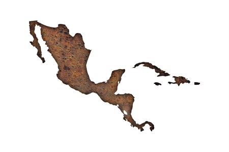 Foto de Map of Middle America on rusty metal - Imagen libre de derechos