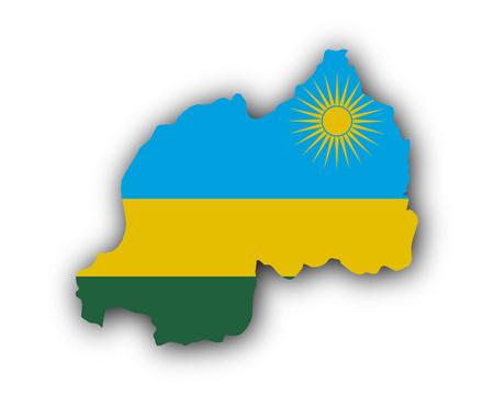 Illustration pour Map and flag of Rwanda - image libre de droit