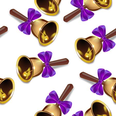 Illustration pour Realistic christmas bells seamless vector background, purple ribbon, periodic pattern. - image libre de droit