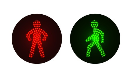 pedestrian traffic lights red and green. Illustration on white background
