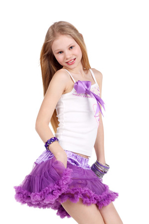 Photo for closeup image of a dancing beautiful blonde teenage girl - Royalty Free Image