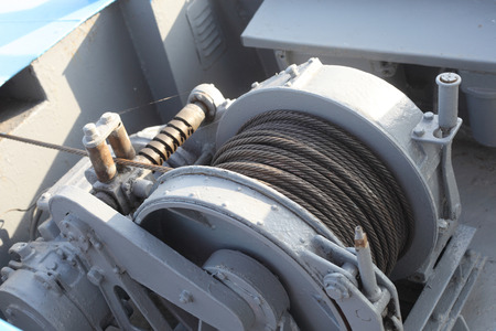 Foto per anchor boat rope mechanism closeup - Immagine Royalty Free