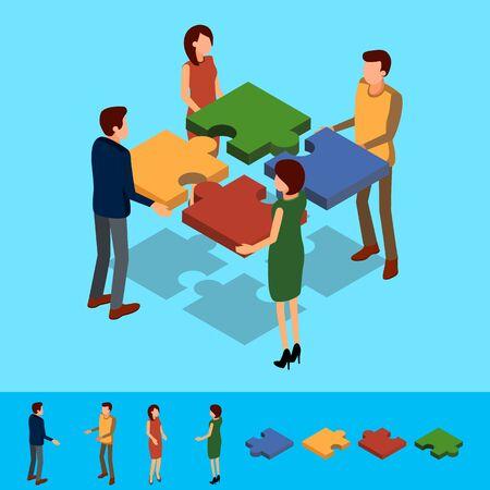 Illustrazione per Isometric Business concept. Teamork solution in partnership. Vector illustration. - Immagini Royalty Free