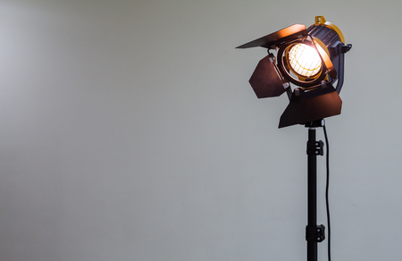 Photo for Spotlight with halogen bulb and Fresnel lens. Lighting equipment for Studio photography or videography - Royalty Free Image