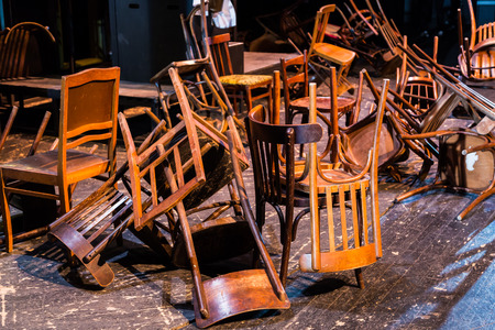 Photo for Old broken furniture. A pile of wooden wreckage of the chairs. Antiques. - Royalty Free Image