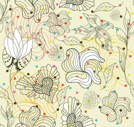 Abstract seamless doodle flowers and hearts pattern with dots mural