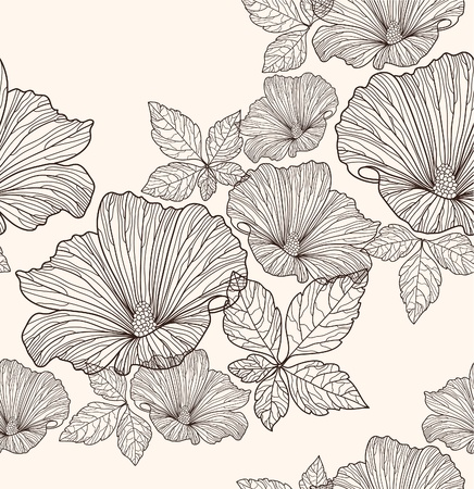 Illustration for Seamless floral pattern. Background with flowers and leafs. - Royalty Free Image