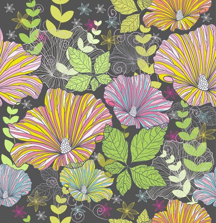 Illustration for Seamless colorful floral pattern. Background with flowers and leafs. - Royalty Free Image