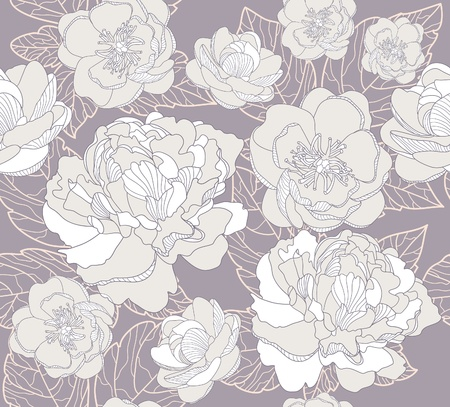 Seamless floral pattern. Background with peonies and cherry blossom flowers. mural