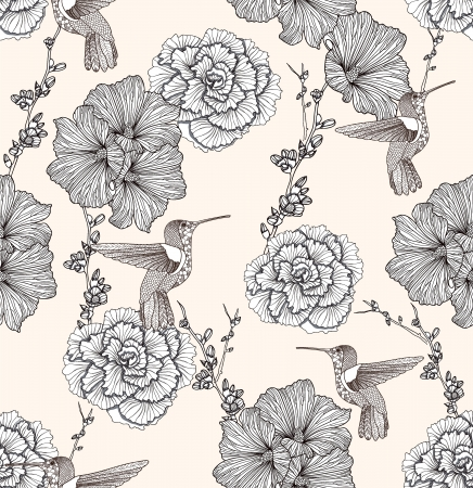 Seamless pattern with flowers and birds. Floral background. mural