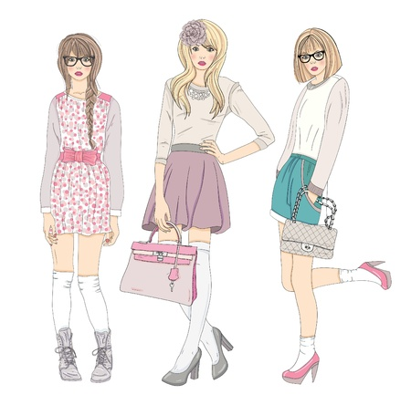 Photo pour Young fashion girls illustration. Vector illustration. Background with teen females in fashionable clothes posing. Fashion illustration. - image libre de droit