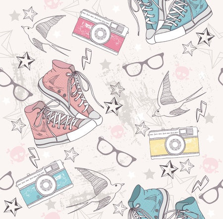 Photo pour Cute grunge abstract pattern. Seamless pattern with shoes, photo cameras, glasses, stars, thunders and birds. Fun pattern for children or teenagers. - image libre de droit