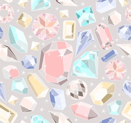 Ilustración de Seamless pastel diamonds pattern. Background with colorful gemstones. - Imagen libre de derechos
