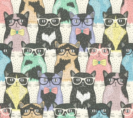 Illustration pour Seamless pattern with hipster cute cats for children - image libre de droit