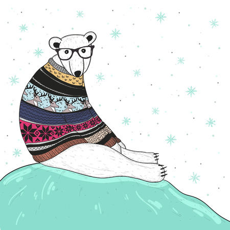 Illustration pour Christmas card with cute hipster polar bear. Bear with fair isle style sweater. - image libre de droit