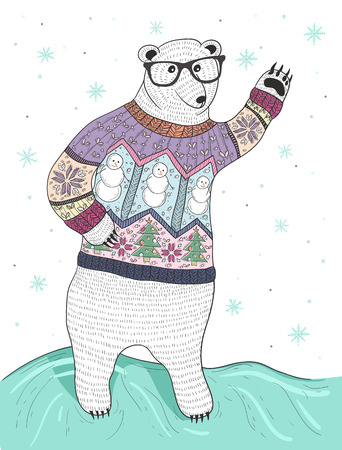 Ilustración de Cute hipster polar bear with glasses and christmas sweater - Imagen libre de derechos
