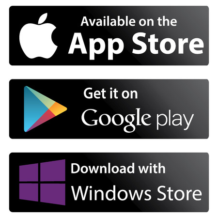 Photo pour Set icons Google play store, Apple appstore, Windows store - image libre de droit
