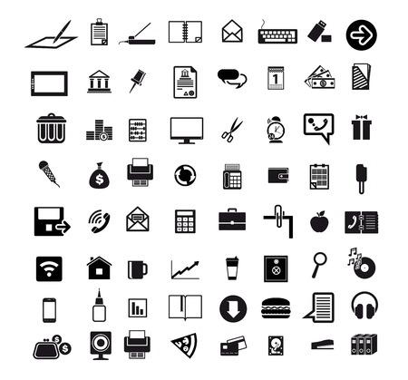 Illustration pour business economics office set of 64 black icons on white background - image libre de droit