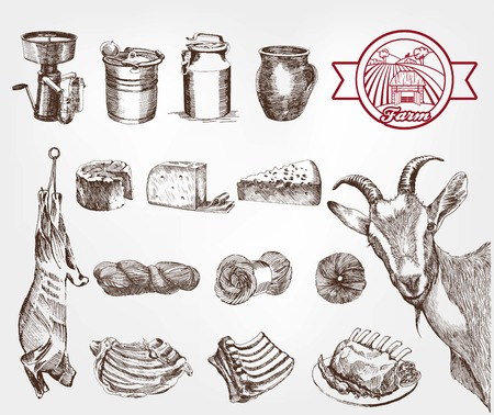 Illustration for goat breeding. set of sketches made by hand - Royalty Free Image
